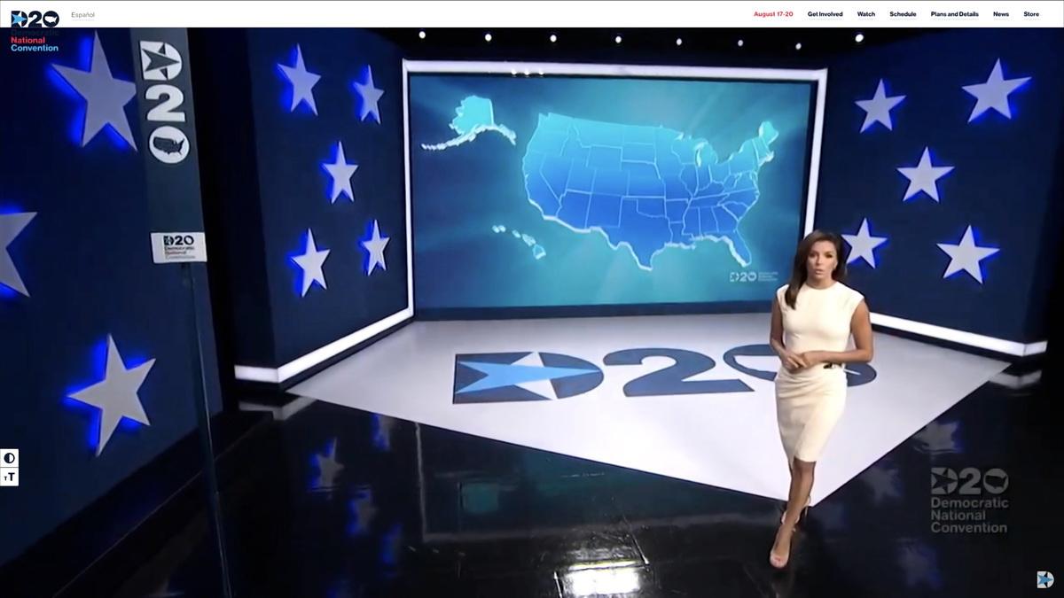 民主黨舉辦了史無前例的虛擬黨代會。圖為第一天的主持人伊娃·朗格利亞(Eva Longoria)。在中共病毒疫情爆發前,民主黨人預計,該會議將吸引5萬人前往威斯康辛州的密爾沃基市。 (Handout/DNCC via Getty Images)