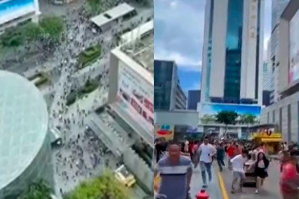 5月18日下午,深圳福田區華強北街道賽格大廈發生不明搖晃,至少有上萬人逃離大廈。(影片截圖合成)