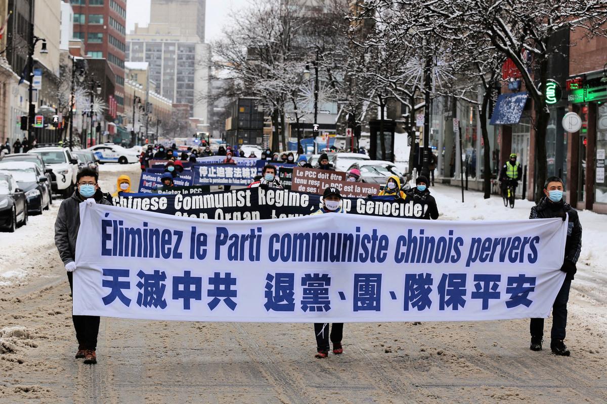2021年2月27日下午,加拿大魁北克省部份法輪功學員在滿地可舉行「天滅中共 結束迫害」大遊行,隊伍所到之處,民眾用各種方式表達支持和讚許,還有一些民眾說感受到很好的能量。(大紀元)
