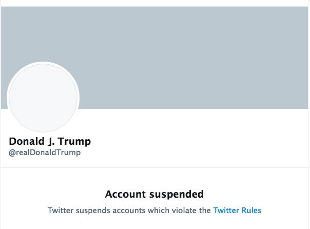 1月8日,推特宣佈永久凍結特朗普的用戶名帳號。圖為特朗普總統推特帳號的截圖。