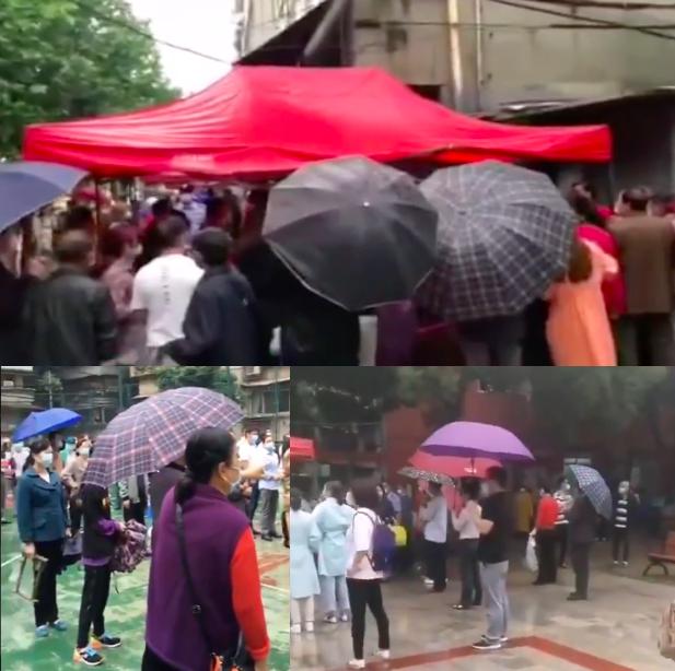 有影片顯示,武漢當地市民冒雨排隊做檢測。(影片截圖合成)