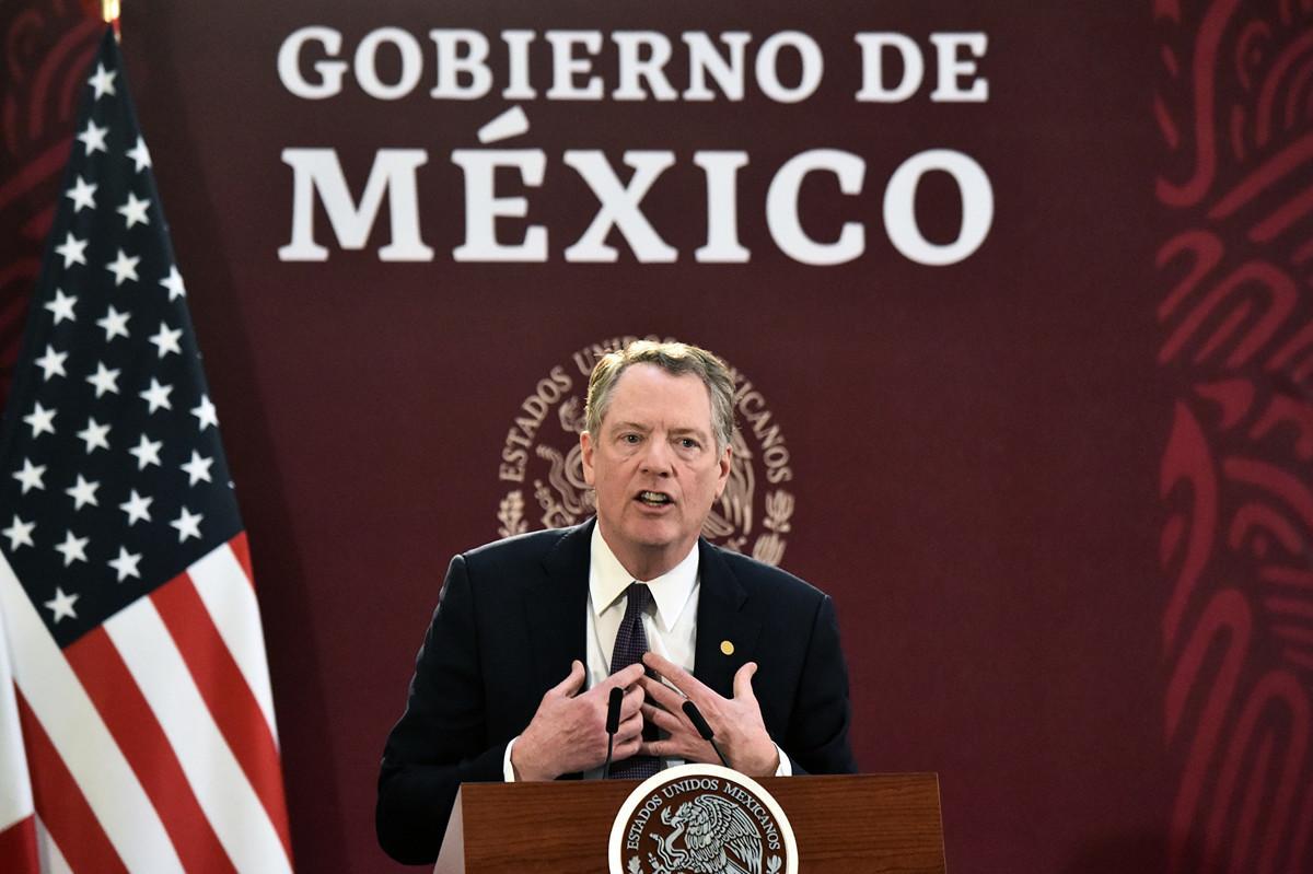 美國貿易代表萊特希澤12月13日表示,第一階段貿易協議或在明年1月份簽署。(RODRIGO ARANGUA / AFP)