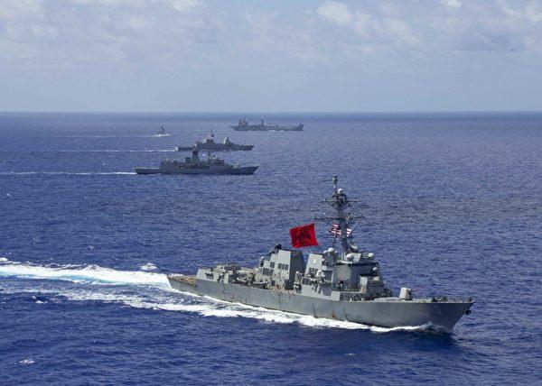 2020年8月1日,美軍的佩拉爾塔號(DDG 115)驅逐艦,與澳洲皇家海軍護衛艦斯圖亞特號(FFH 153)、支援艦天狼星號(O 266),新加坡海軍的護衛艦至尊號(73)和汶萊海軍的巡邏艦達魯萊桑(OPV-07)共同演練、執行印太自由航行。(美國海軍)