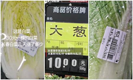 疫情跌價低溫等因素,大陸各地菜價飆升。圖為長春超市的標價,其中大白菜分別是3.5元和3.98元/斤,大蔥10元/斤。(截圖合成)