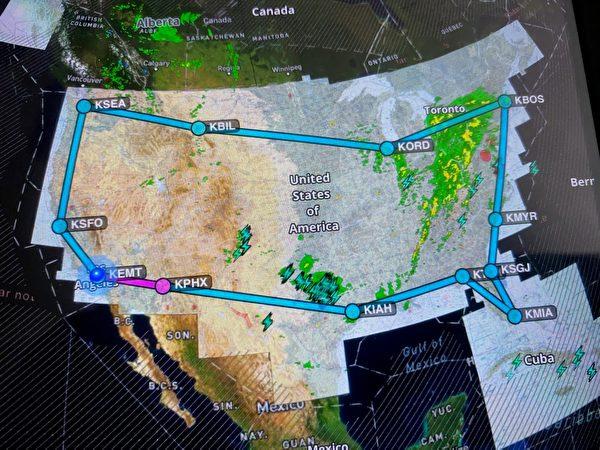 全程約7000海里(NM),飛行時間逾65小時的「重光香港」環美飛行規劃圖,顏色區塊代表惡劣天氣、風暴圖以及重要的天氣警告。(S機長提供)