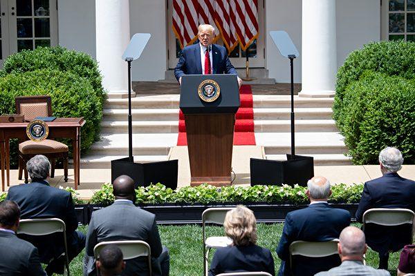 美國總統特朗普於2020年6月16日在華盛頓特區白宮玫瑰花園舉行的新聞發佈會上講話。(SAUL LOEB/AFP)