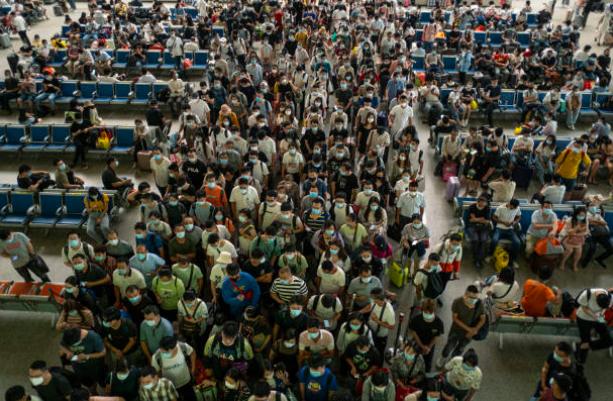 中共病毒爆發後的漢口火車站。示意圖。(Getty Image)