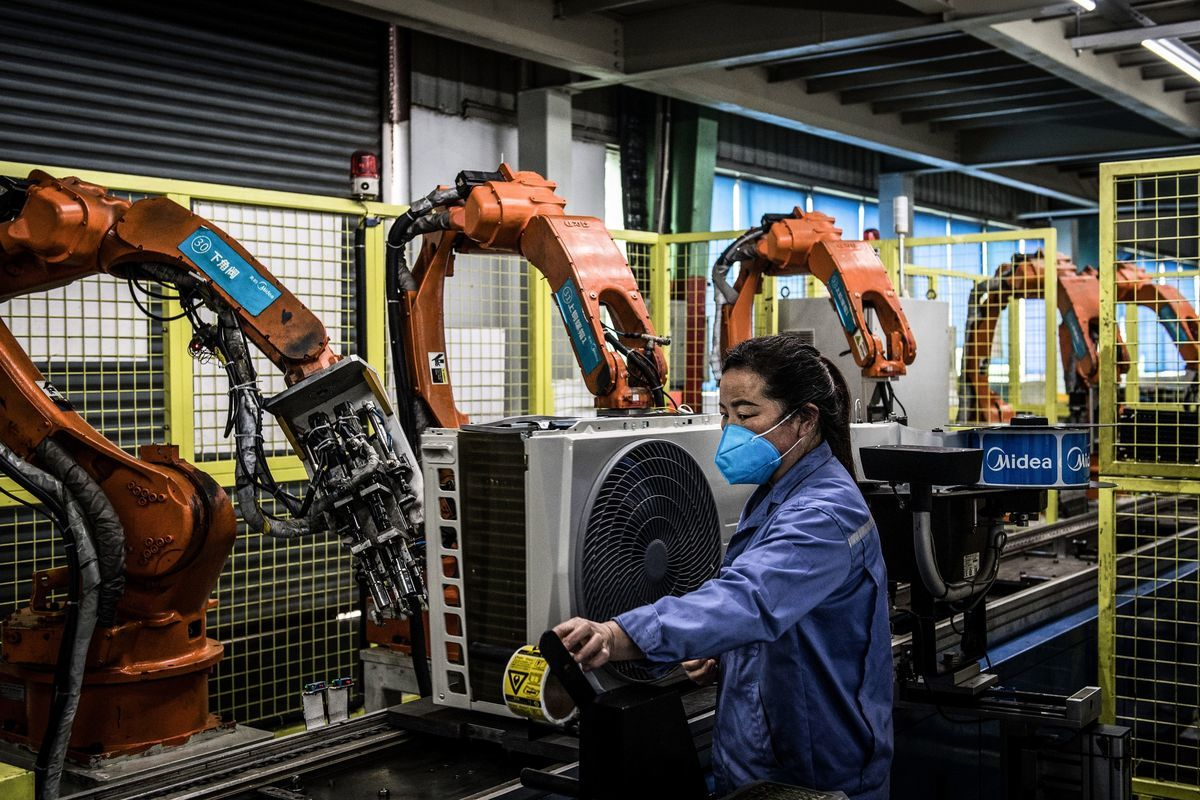圖為中國的工廠。(STR/AFP via Getty Images)