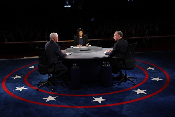4日美國大選兩大政黨副總統候選人辯論,場中彭斯與凱恩數度為特朗普和希拉莉的政策交鋒辯護,火藥味十足,主持人數次打斷或提醒,也難阻止兩人的針鋒相對。(Joe Raedle/Getty Images)