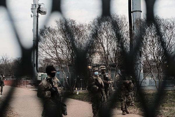 拜登就職典禮前夕,華盛頓特區加強安全防禦。(Spencer Platt/Getty Images)