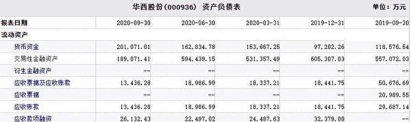 (華西股份2020年資產負債表截圖)