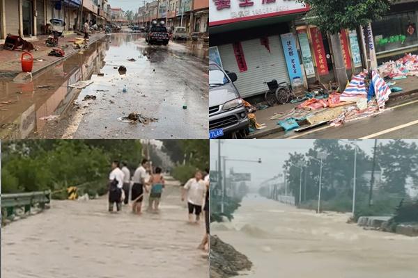 7月19日,被稱為「中國羽絨之都」的六安市固鎮鎮遭遇二十多年不遇洪水,全鎮覆沒。(村民提供)