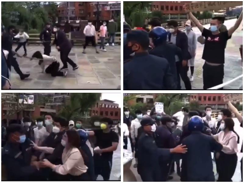 滯留尼泊爾的中國人前往尼泊爾總理辦公地抗議,要求回國,遭當地警方拘捕。(影片截圖)