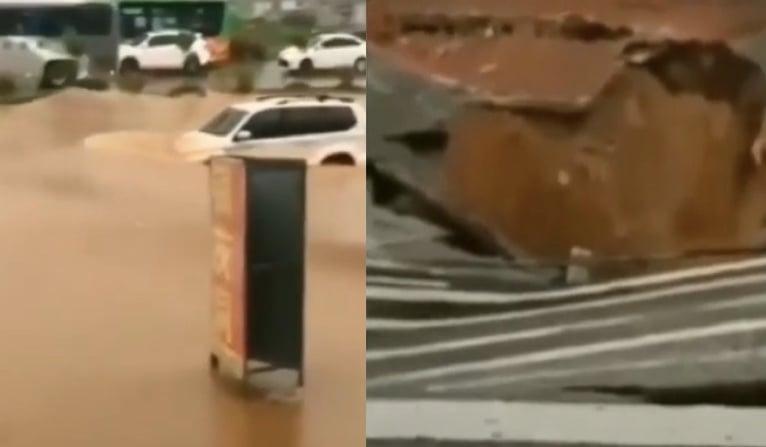 2020年8月26日,廣東東莞大朗鎮出現路面塌陷(右),廣州等地積水(左)嚴重。(影片截圖合成)