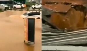 【影片】廣東東莞路面塌陷 市民大喊別過來
