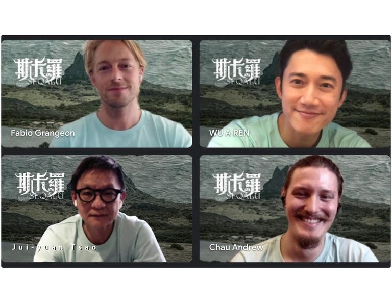 《斯卡羅》導演曹瑞原(左下)、演員吳慷仁(右上)、法比歐(左上)、周厚安於2021年7月17日出席線上媒體聯訪。(公視提供)