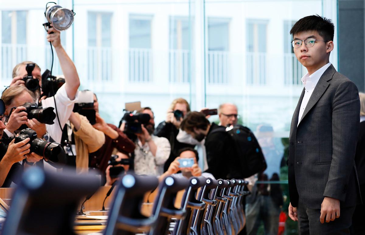 9月11日,香港眾志秘書長黃之鋒在柏林出席德國聯邦記者會(Bundespressekonferenz),向德國及歐洲媒體講述香港局勢。(MICHELE TANTUSSI /AFP)