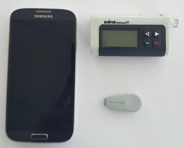 由三個部件組成的穿戴式人造胰腺設備,可幫助2型糖尿病患者維持正常血糖水平。(University of Cambridge)