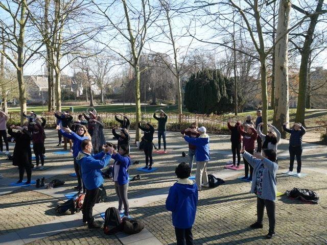 萊頓大學心理學系(Department of Psychology,Leiden University)的48名大學生學煉法輪功。(明慧網)