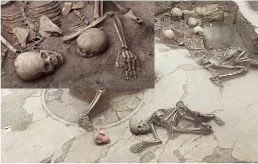 圖三:「東方龐貝」喇家遺址出土的人類遺體顯示出「瞬間凍結」狀。(公有領域)