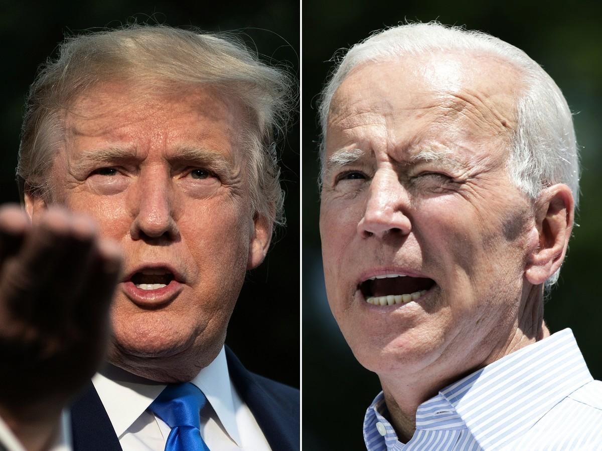 在美國兩大黨召開代表大會前夕,一項新的全國民意調查顯示,特朗普的民調正在上升,拜登的領先優勢正迅速縮小。(JIM WATSON,DOMINICK REUTER/AFP via Getty Images)