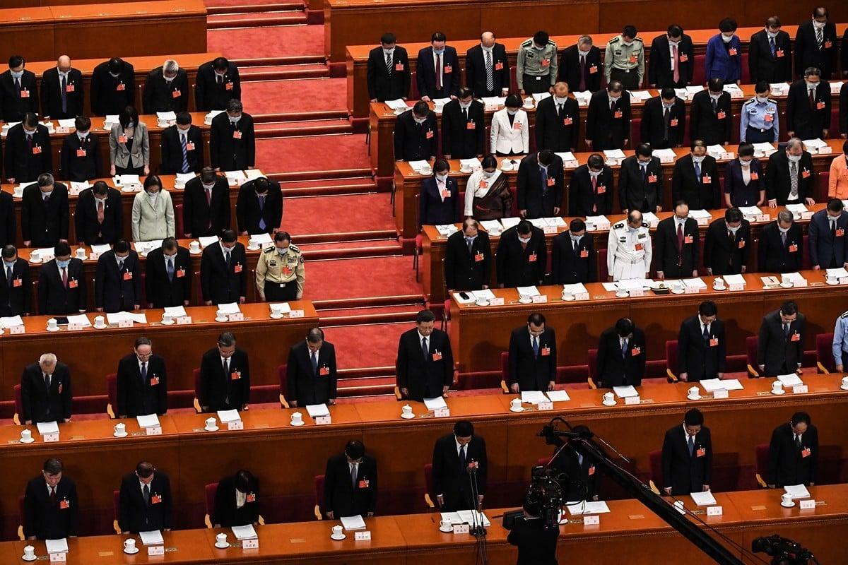 2020年5月22日,中共全國人大會上。(LEO RAMIREZ/AFP via Getty Images)