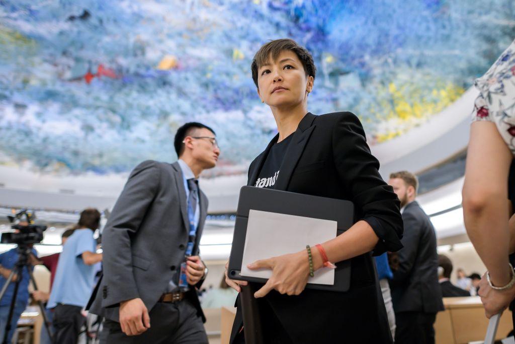 何韻詩於2019年7月8日應邀到瑞士日內瓦聯合國人權理事會(UNHRC)就香港「反送中」活動發表演講。(FABRICE COFFRINI/AFP/Getty Images)