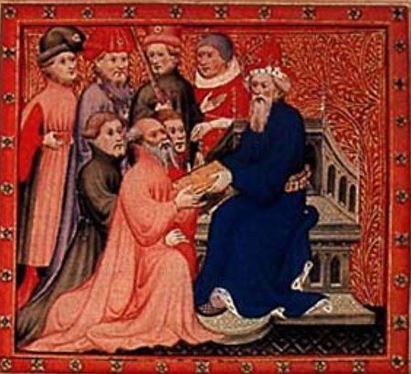 圖為《馬可·波羅遊記》插圖:馬可·波羅和忽必烈汗在大都的王廷。(公有領域)