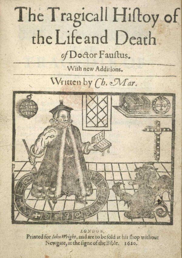 內封面, 1620年版克里斯托弗·馬洛(Christopher Marlowe)《浮士德博士的悲慘歷史》,浮士德博士和一個從活板門上來的魔鬼的木刻插圖。(公共領域)
