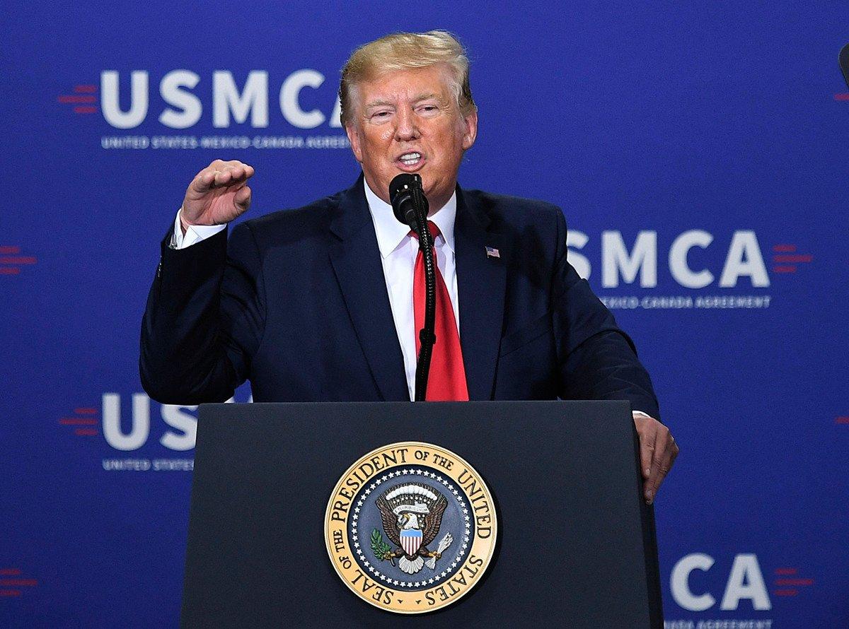 特朗普總統經貿政策又一大嶄獲,美東時間周四(1月16日)參議院通過《美墨加自由貿易協定》(USMCA)。(MANDEL NGAN/AFP)