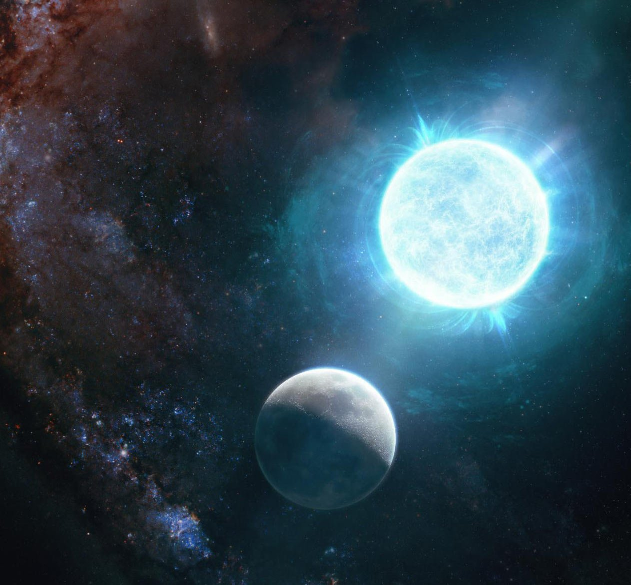 奇特的白矮星ZTF J1901+1458和月亮的對照圖。(Giuseppe Parisi)