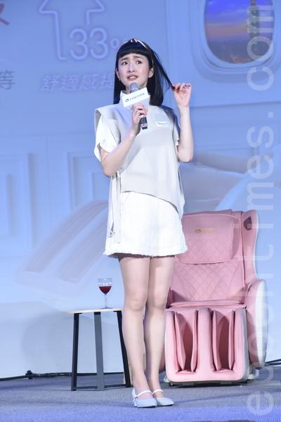 林依晨於3月17日在台北出席代言活動,坦承常常「犯戲癮」,透露新戲最快明年開拍。(黃宗茂/大紀元)