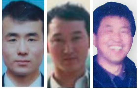 在冤獄中遭到性摧殘的法輪功學員曲輝(左)、楊玉永(右),(兩人已被迫害致死)。劉永旺(中)。(大紀元合成圖)