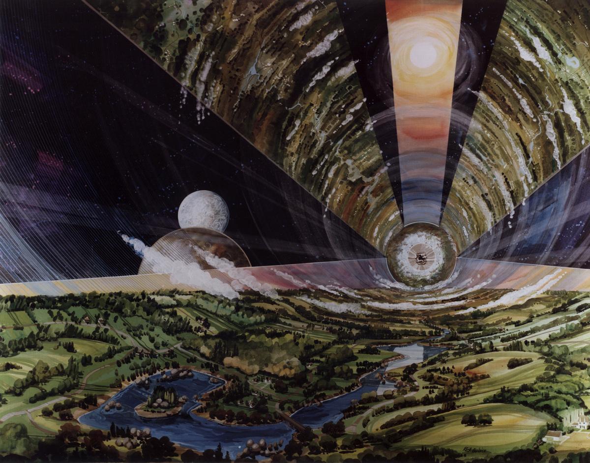 美國太空總署埃姆斯研究中心太空殖民地圖像。(Rick Guidice/NASA)