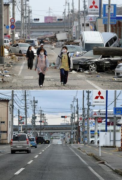 日本311大地震重災區岩手縣大船渡市(Ofunato, Iwate)今昔對比圖。上圖攝於2011年4月16日,下圖攝於2021年3月14日。(TOSHIFUMI KITAMURA,KAZUHIRO NOGI/AFP via Getty Images)