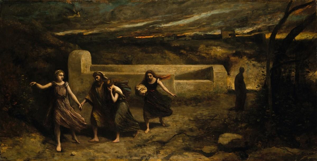有學者認為被摧毀的古中東城市塔哈曼(Tall el-Hammam)是《聖經》中提到的罪惡之城索多瑪。圖為索多瑪被毀時,天使帶羅德及家人逃離索多瑪的情形。法國畫家卡密爾‧柯洛(Camille Corot)的作品。(shutterstock)