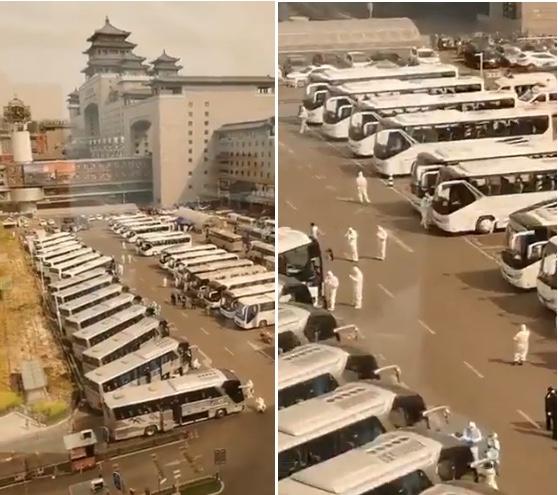北京西站旁有數十輛大巴車和一些穿著防護服的人。(影片截圖合成)