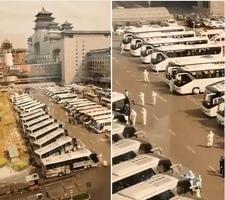 【現場影片】北京西站現數十大巴車和白衣人