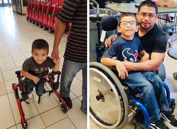 邁克爾出生時被診斷出患有腦癱,無法獨立行走,只能依靠輪椅或助行架行動。(母親安吉提供)