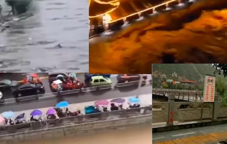 中國大陸暴雨下不停,南方、北方均有洪災,圖為四川、甘肅洪災。(影片截圖合成)