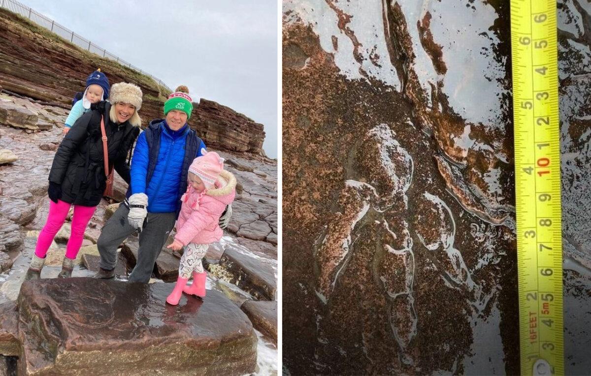 近期,英國一名4歲女童和家人外出散步時,在一處海灘意外發現一個可以追溯到2.2億年前的恐龍足跡化石,而且保存相當完好。(母親薩莉提供)