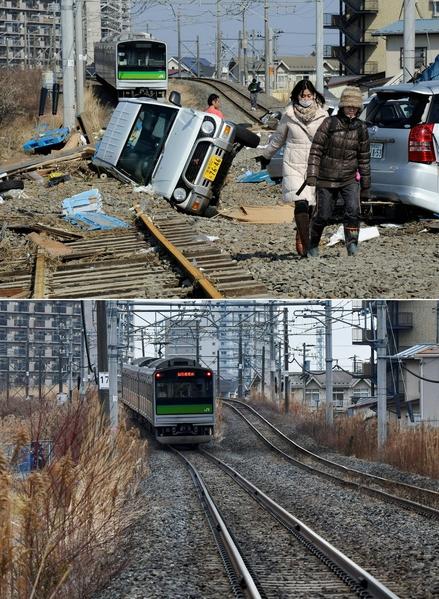 日本311大地震重災區宮城縣多賀城市(Tagajo,Miyagi)今昔對比圖。上圖攝於2011年3月13日,下圖攝於2021年3月14日。(TORU YAMANAKA,KAZUHIRO NOGI/AFP via Getty Images)