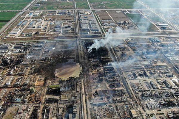從陸媒公佈的爆炸現場航拍畫面看,如同幾年前天津大爆炸的災後現場,廢墟一片,滿目瘡夷。(STR/AFP/Getty Images)