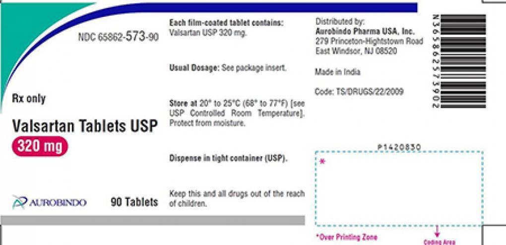 FDA在2018年12月31日發佈在美國召回降壓藥纈沙坦(Valsartan)公告中示範的產品圖片之一。(FDA網站)