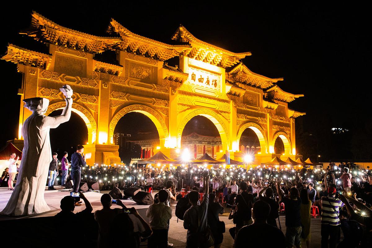台北日前舉行「六四」30周年追思活動,意外成為中華民國總統參選人的試金石。(陳柏州/大紀元)