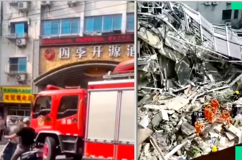 蘇州市吳江區松陵鎮的四季開源酒店(左)部份樓體突然倒塌(右)。(影片截圖)