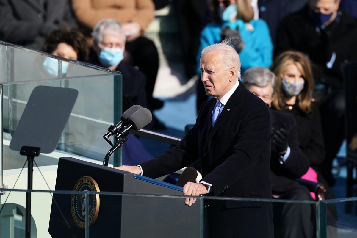 2021年1月20日,美國總統拜登宣誓就職後發表講話。 (Erin Schaff-Pool/Getty Images)