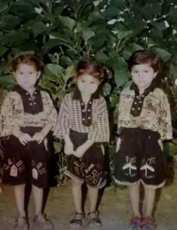 小時候的三胞胎。(桑迪提供)