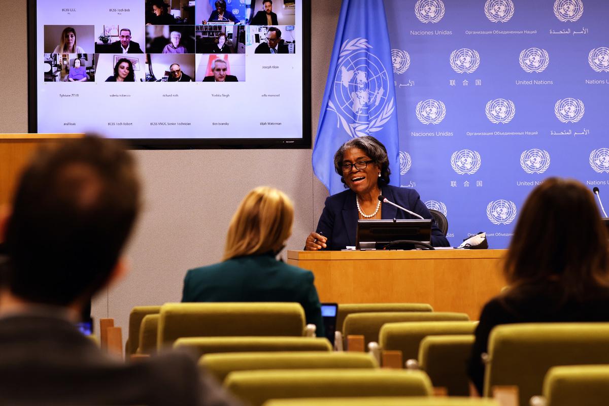 美國駐聯合國大使琳達·托馬斯-格林菲爾德(Linda Thomas-Greenfield)。(Spencer Platt/Getty Images)