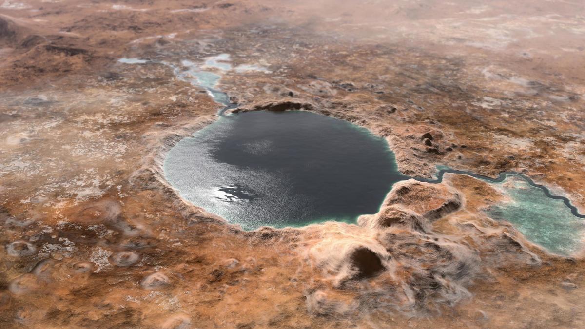 火星傑澤羅坑曾為湖泊的藝術假想圖。(NASA)